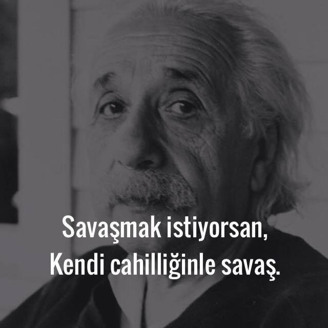 Savaşmak istiyorsan, kendi cahilliğinle savaş.   - Albert Einstein