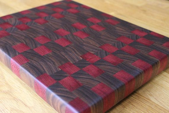 "Walnut and Purple Heart End Grain Cutting Board 12"" X 14 1/2"" X 1 1/4"""