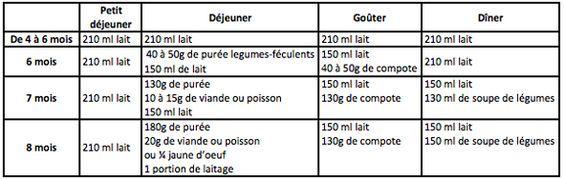 menu type bébé quantité 6-8mois