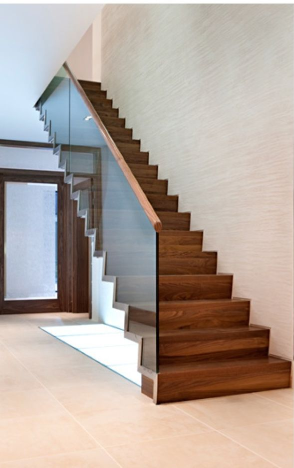 Glass Stair Railing Decoration Concept Walnut and glass stairs Glass stairs, Decor and Ideas - @Azulandcompany