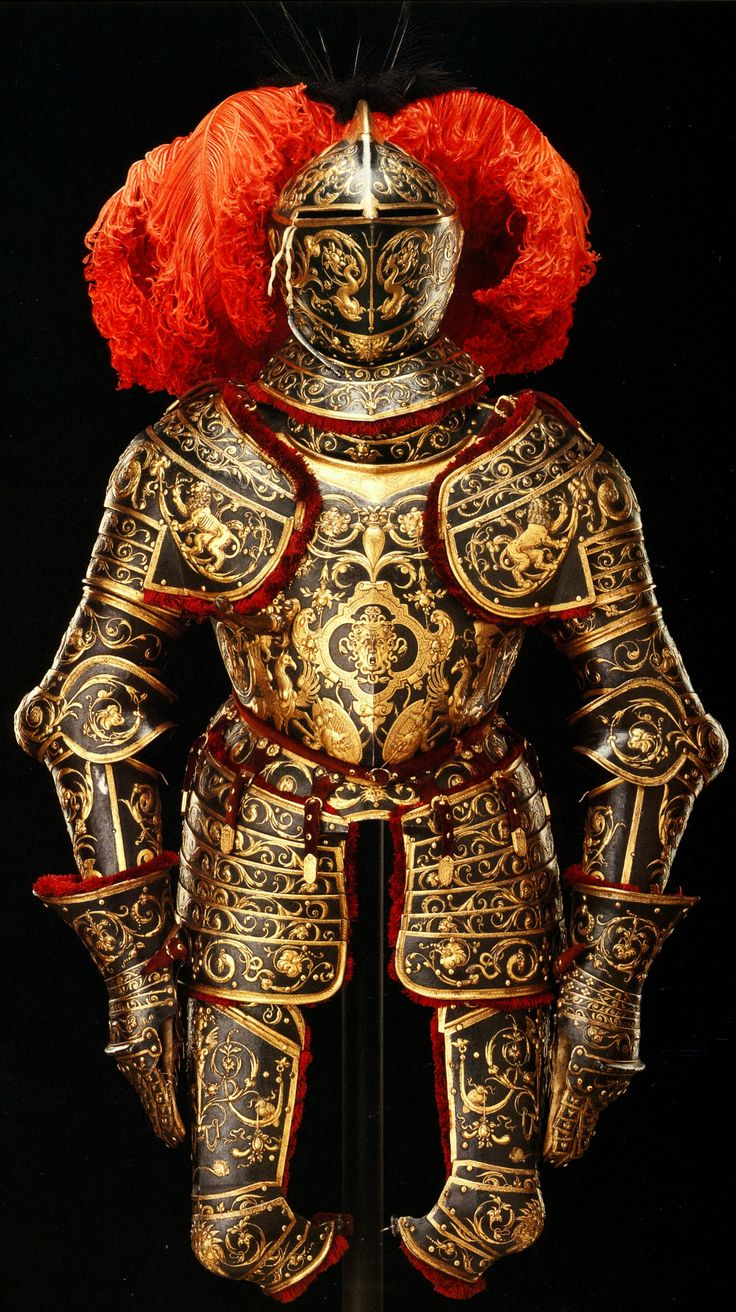 Parade Armor, c1562, attributed to Eliseus Libaerts an Antwerp armourer/goldsmith, (known to be active 1557-69) who specialized in richly embossed armor, made for either King Erik XIV of Sweden or King Frederick II of Denmark. The central motif of the breastplate is the head of Medusa, Rustkrammer, Staalich Kunstsammlungen, Dresden.