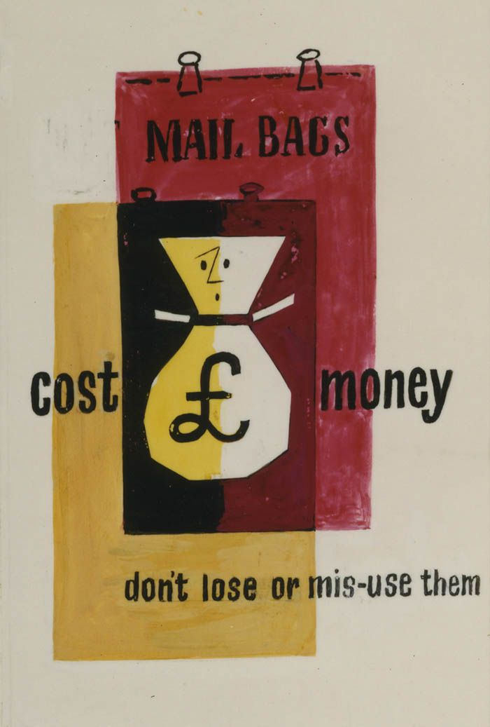 ¤ Tom Eckersley GPO internal poster mailbags 1950. Mail bags cost money. Don't lose or mis-use them.