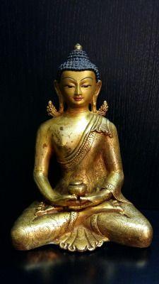Amitabha  Buddha  Rame dorato  Base cm.11 h.cm.16