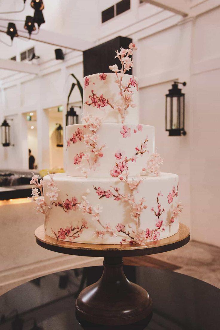 Painted and sugar flower sakura wedding cake  – Wedding cakes