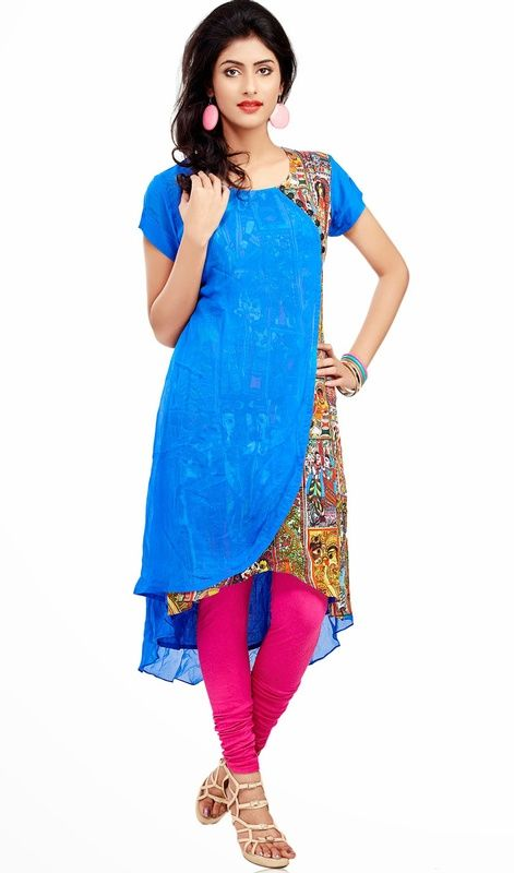 Classic blue printed georgette kurti is perfect for evening party requirement. Kurti is embellished with multi color printed fabric with blue georgette like in draped style and Kurti has slight up down cut which gives you an alluring look. #ClassicalTunic
