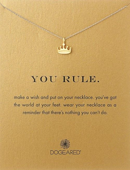 You Rule Crown Necklace attached with inspirational message. Perfect for the princess, queen, ruler and all the strong girls.