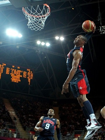 Russell Westbrook of the United States dunks the ball against Tunisia during the men's Basketball preliminary round match on Day 4 of the Games.