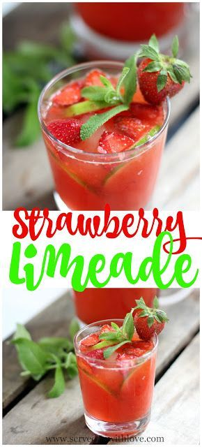 Strawberry Limeade recipe from Served Up With Love. Fresh strawberries brighten up an already great limeade making this drink perfect for your next party. www.servedupwithlove.com