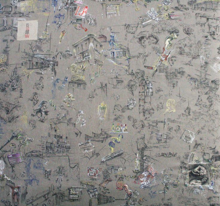 Buenos Aires y el campo 140 x 130 cm dibujos de tela