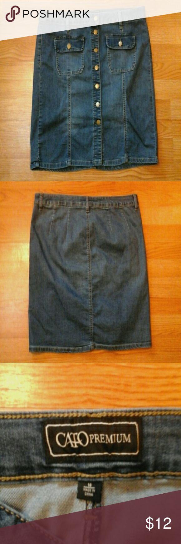 Denim Skirt Stretch denim skirt. Button up front. Cato Skirts Mini