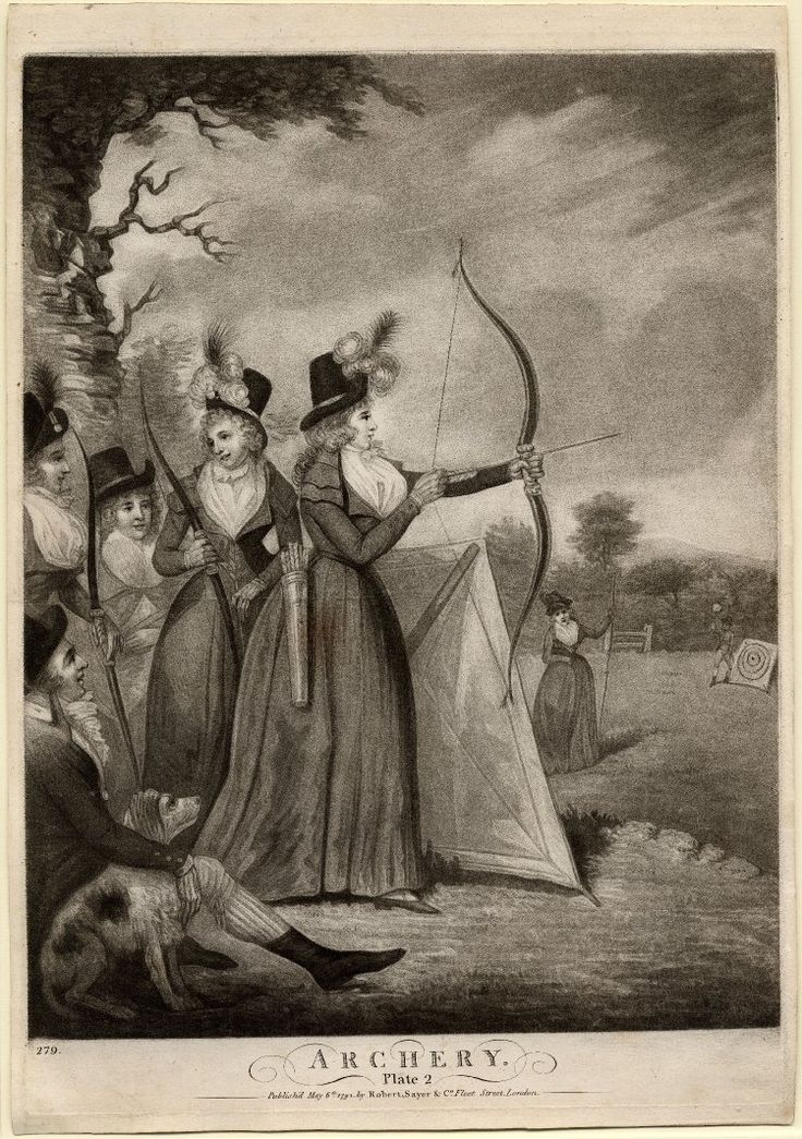"""Description  Women holding bows and arrows in a field. 6 May 1792  Mezzotint    Inscriptions  Inscription Content: With title below and address 'Publish'd May 6th 1792 by Robert Sayer & Co. Fleet Street, London'. Numbered in lower left '279'"""