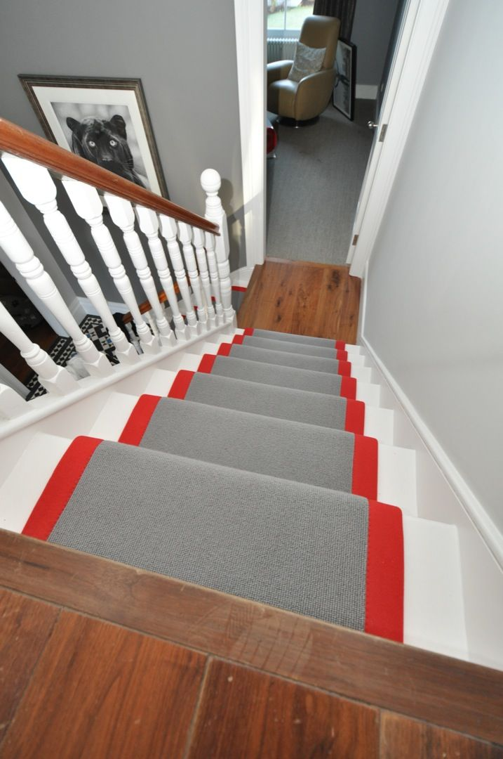 Sophsticated grey carpet contrasted with a beautiful bright red binding tape. By Bowloom Ltd.     www.bowloom.co.uk  www.offtheloom.co.uk