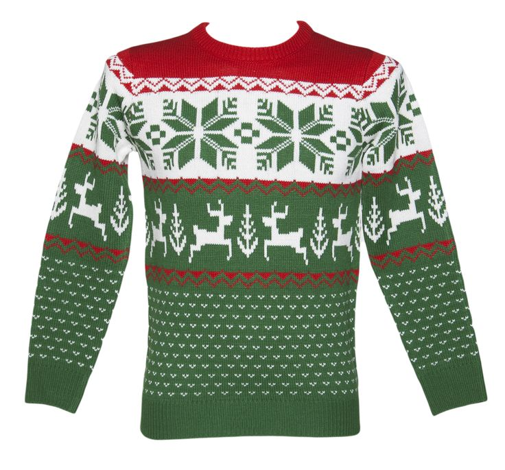 Unisex Green and Red Wonderland Knitted Christmas Jumper from Cheesy Christmas Jumpers