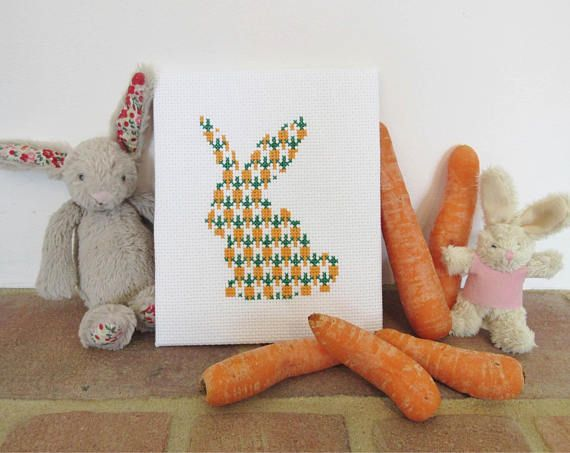 Rabbit cross stitch pattern Easter bunny counted cross