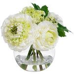 BLOOMS Small Cream and Green Bouquet - Contemporary - Artificial Flower Arrangements - by Diane James Home
