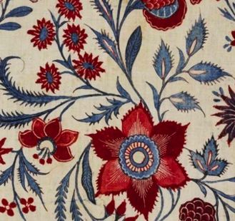 One thing that became popular during the 1700's was the new cotton prints imported from India, that was usually of a floral design.  it was used for clothing, as well as curtains, bed spreads, wall paper, etc.