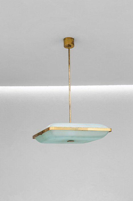 Max Ingrand; #2026 Brass and Glass Ceiling Light for Fontana Arte, c1960.