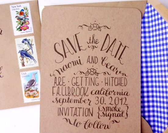Kraft Paper and Calligraphy Save the Dates | Calligraphy and Photo Credits: Tine and Thread