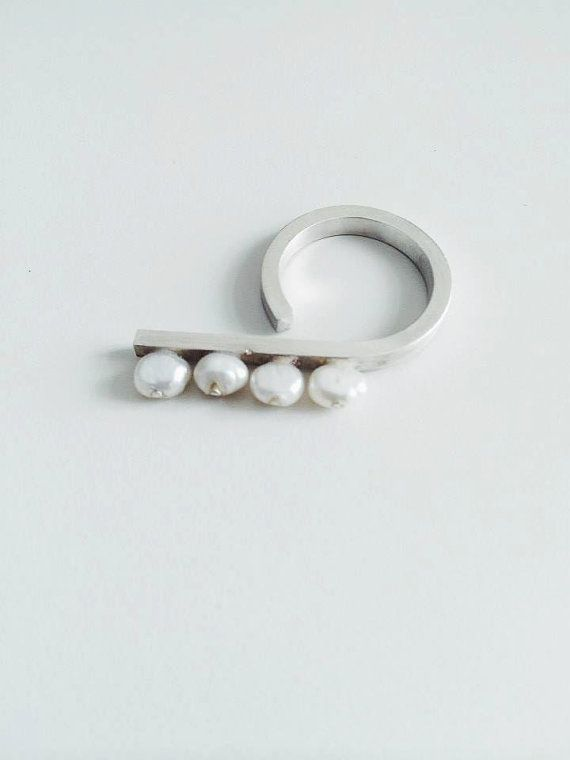 Silver and  Pearls ring /Minimalist pearls ring by SiverLining