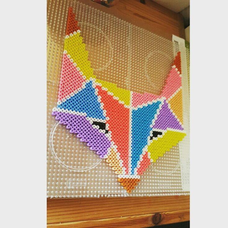Hama bead pastel coloured fox