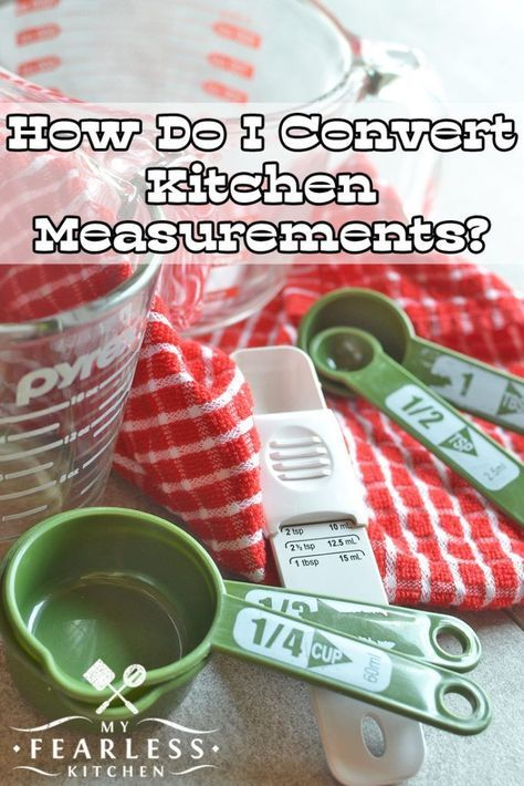 How Do I Convert Kitchen Measurements? from My Fearless Kitchen. Have you ever needed to do measurement math in the middle of cooking? This free printable chart will make kitchen measurement conversions a piece of cake!