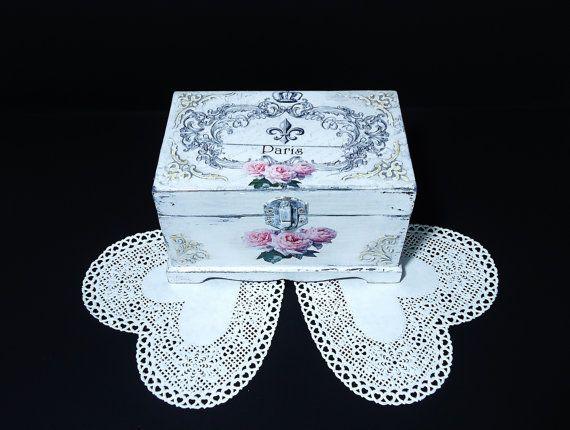 Shabby Сhic white Jewelry Box Distressed White by JoliefleurDeco