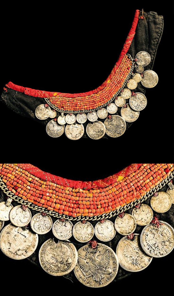 Tatarstan - Kazan | Pectoral (bandalier); Cloth, coral, 21 coins and metal | ca. 1900