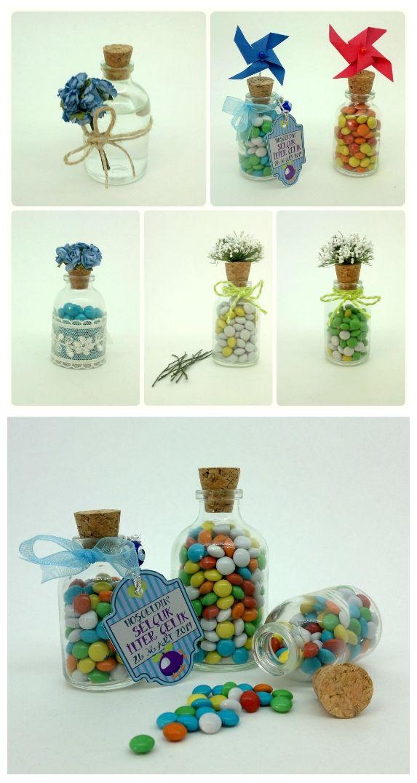 25cc şişe içine renkli bonibonlar, etiket ve kurdela ile süsleme / Label and ribbon to decorate and colored ChocoChunks in the 25cc bottle #şişe #bottle #babyshower #nikah #düğün #hediye #şeker #wedding #favor