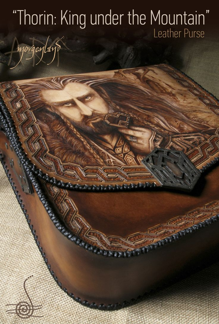 """Thorin: King under the Mountain"" A unique leather big size purse  Pyrography, tooling and painting. Adjustable strap. Size: 32 cm x 30 cm x 10 cm  for orders please contact me at morgenland@gmail.com"