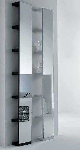 contemporary shelf with mirror MOHELI SPECCHIO RETTANGOLARE ALTO LEGNO ORIZZONTI ITALIA