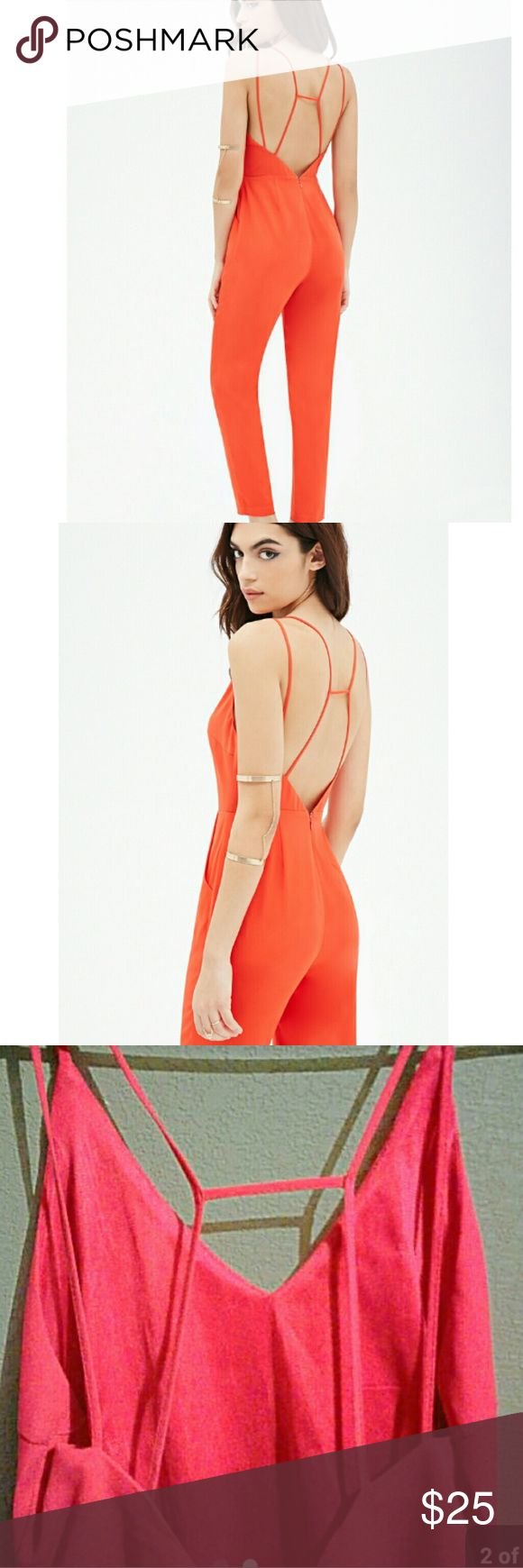 Forever 21 coral jumpsuit Never worn  Geometric cutout  Perfect for spring  Size small true to size Cheaper on Merc Forever 21 Dresses Backless