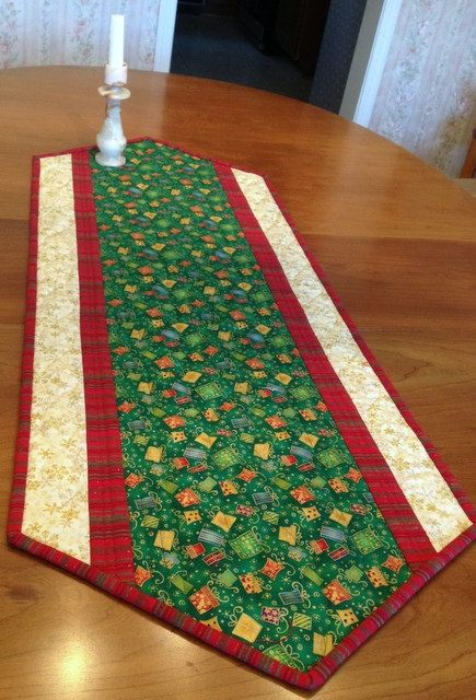 Christmas Gifts Quilted Table Runner by birdsongquilts on Etsy