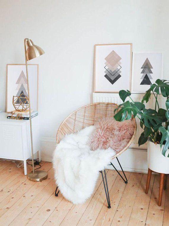 Pink & Grey Triangles Art Print, Minimalism, Geometric print, Printable art, Digital print, Minimali