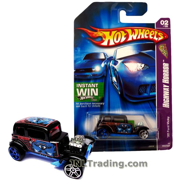 Hot Wheels Year 2006 Highway Horror Series 1:64 Scale Die Cast Car Set #2 - Black Color REYEDCLOPS Classic Hot Rods '32 FORD VICKY J3418