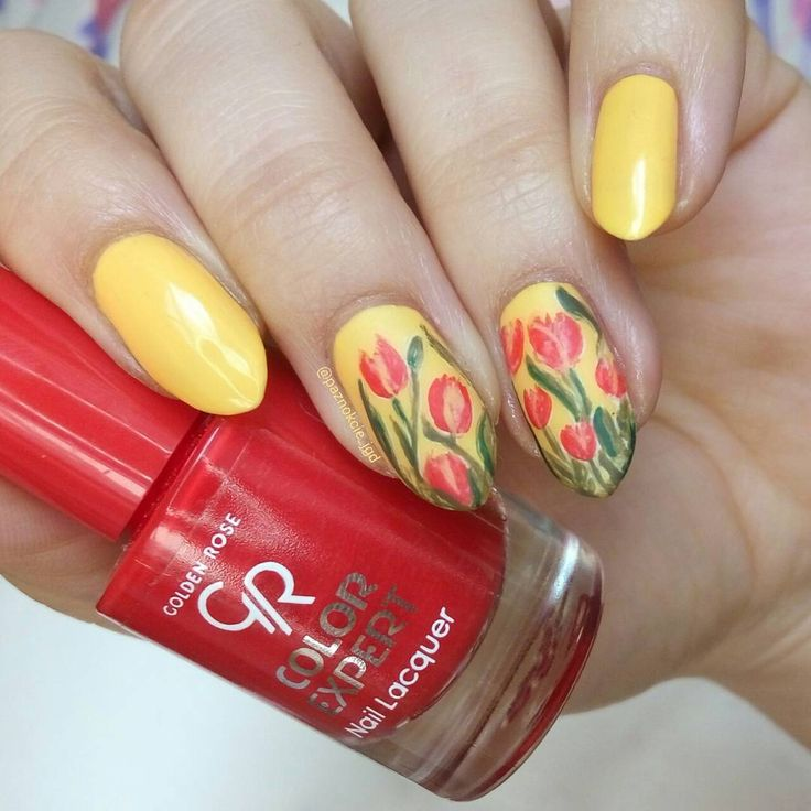 @paznokcie_jgd freehand nail art tulip flowers