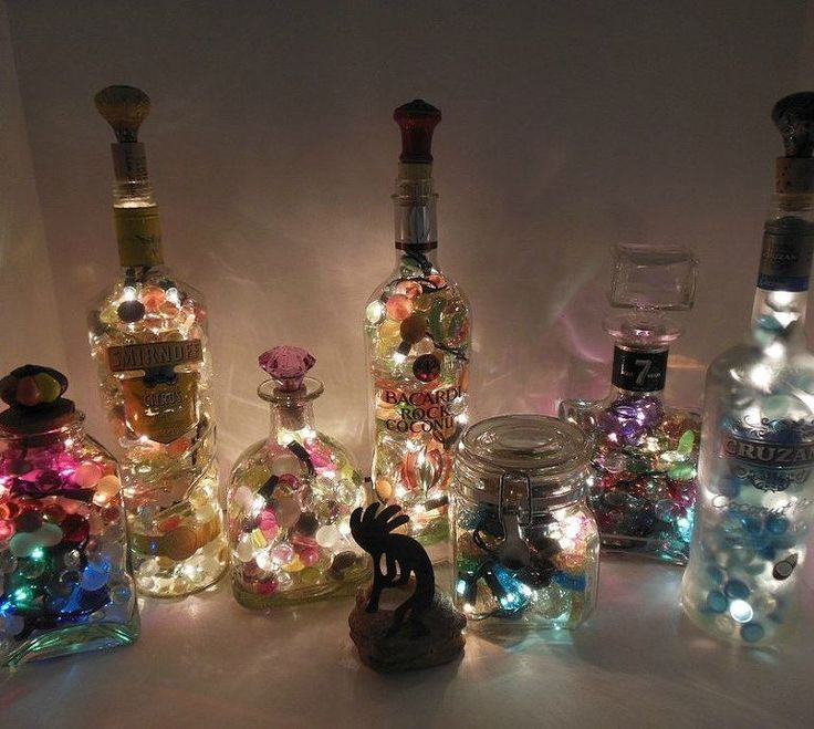 98 best glass block crafts images on pinterest glass for Glass bottle display ideas