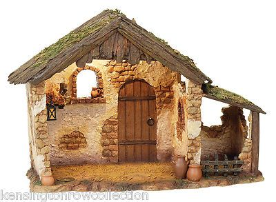 """FONTANINI NATIVITY - LIGHTED STABLE FOR 5"""" SCALE FIGURINES - LIGHTED CRECHE"""