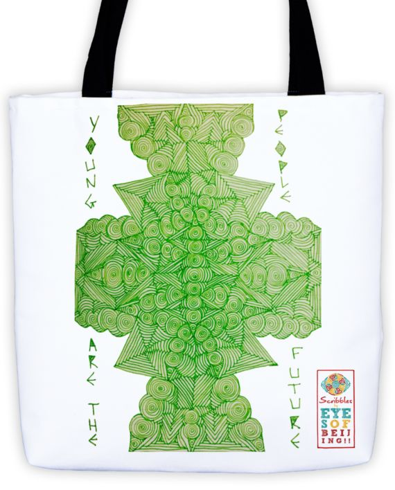 Lucid Lime Scribble Tote by: Eyes of Beijing
