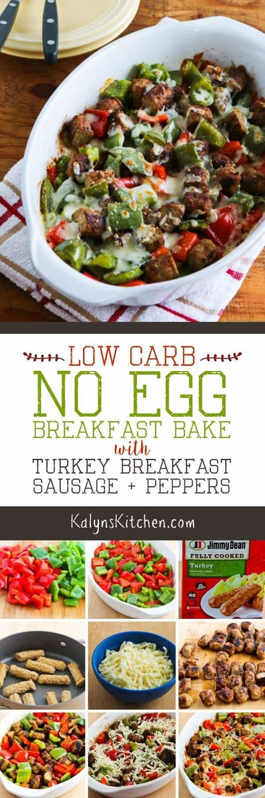 If you want a low-carb breakfast but don't want eggs, this Low-Carb No Egg Breakfast Bake with Turkey Breakfast Sausage and Peppers is really a treat! And this tasty egg-free low-carb breakfast option is also keto, low-glycemic, and South Beach Diet Phase One, and if you use gluten-free sausage this is gluten-free. [found on KalynsKitchen.com] #LowCarbBreakfast #LowCarbNoEggBreakfast #NoEggBreakfast #LowCarbBreakfastWithoutEggs