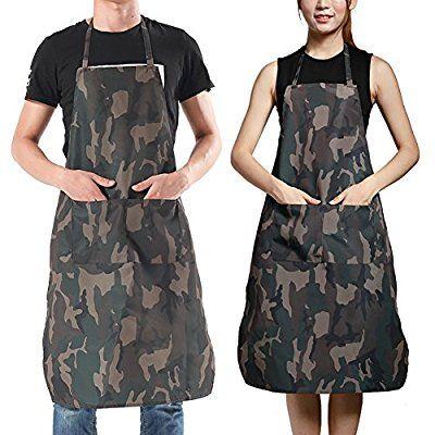 Opromoカモフラージュ防水オックスフォードファブリックエプロン男性と女性のための2つのフロントポケット - 1PACK - XL