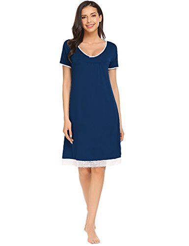 Sweetnight Women Nightgown Short Sleeve Scoop Neck Sleepwear Lace Trim Sleep  Shirt Night Dress 82d42e0a8
