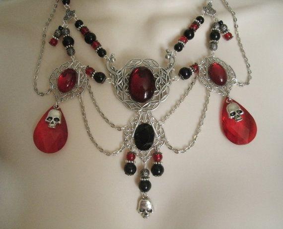 Gotische Doodshoofd halssnoer gotische sieraden door Sheekydoodle