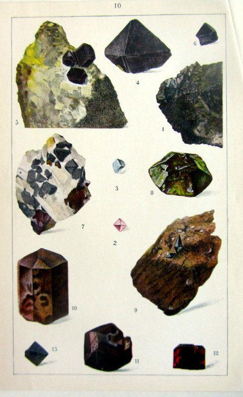 1930 Vintage oxid Mineralien print, antiken Kristalle-Farb-Lithographie Kupferstich, Geologie Mineralogie Hausmannit Spinell Rutil Anatas