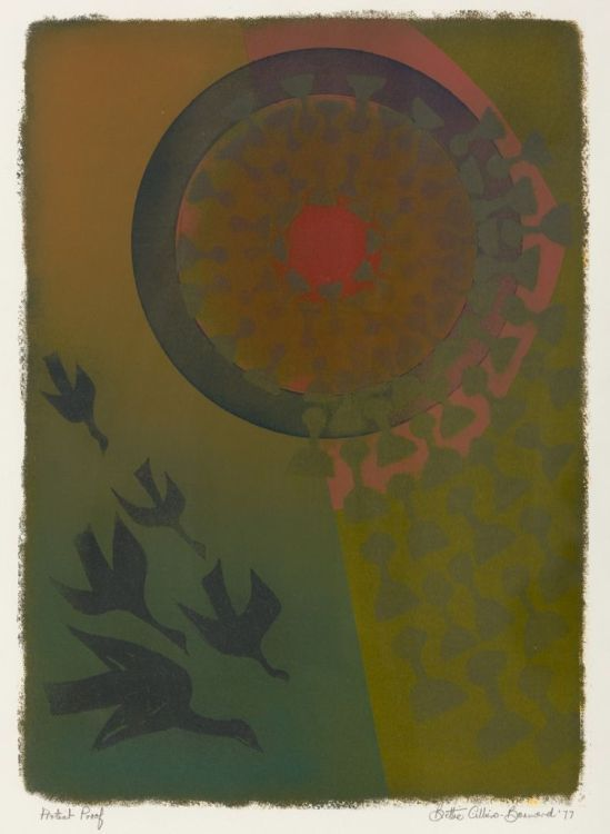 Bettie Cilliers-Barnard SOUTH AFRICAN 1914-2010 Abstract Composition with Birds signed, dated '77 and inscribed 'Artists Proof' in pencil in the margin silkscreen in colours image size: 58,5 by 41,5cm