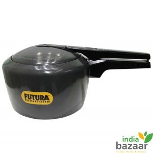 Futura Pressure Cooker 3Litre  Perfect Kitchen ware, Black Body Pressure cooker •Hard Anodized Body and pressure locked safety lid •Famous for its excellent black color design and safety •Ideally meant for making rice, meat and other savory Indian recipes •Super-Fast Cooking - On Average 46% Faster than Microwave Cooking •Absorbs heat faster making it more energy-efficient •Fingertip Steam Release and stay cool handle