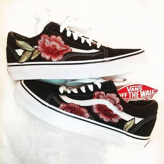 LOW TOP Unisex Custom Rose Floral Embroidered Patch Vans Old-Skool Sneakers   64734ffa9