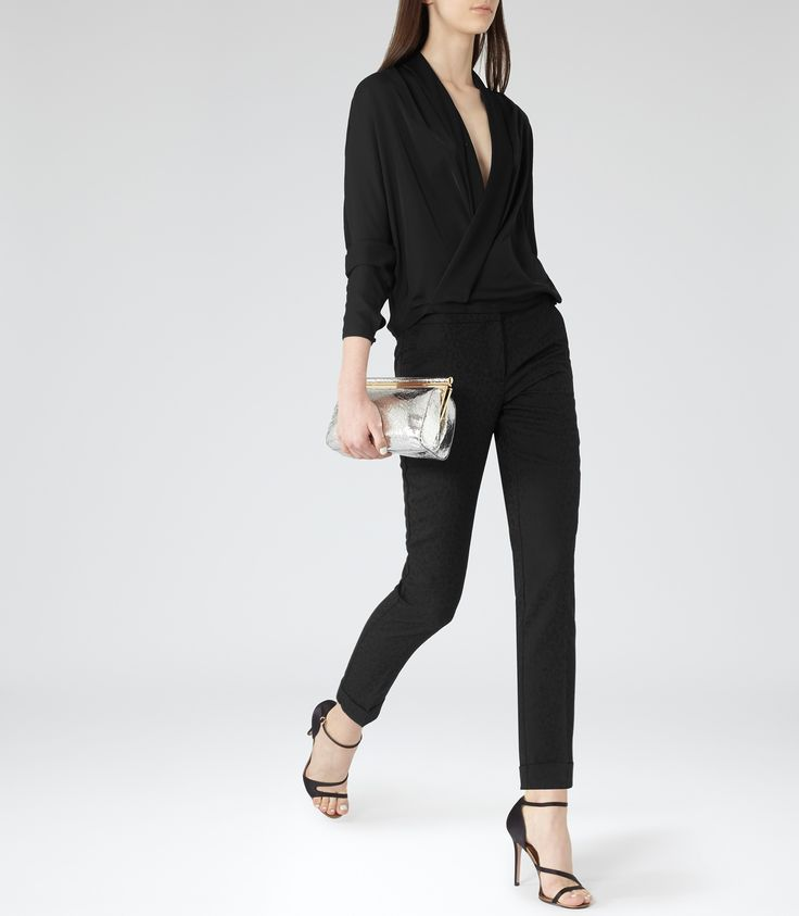 Reiss Ivy Womens Black Wrap-front Top