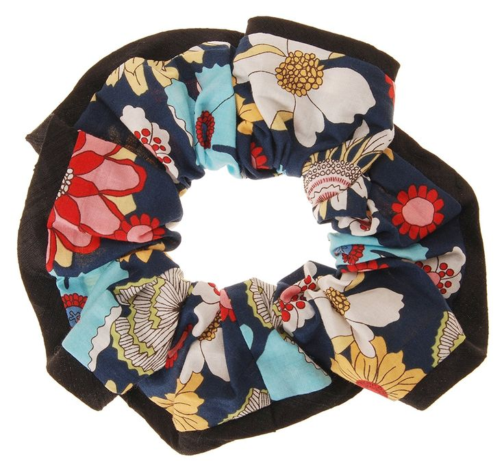 L. Erickson USA Edged Scrunchie - Bold Blooms Celebration/Black >>> To view further for this item, visit the image link.