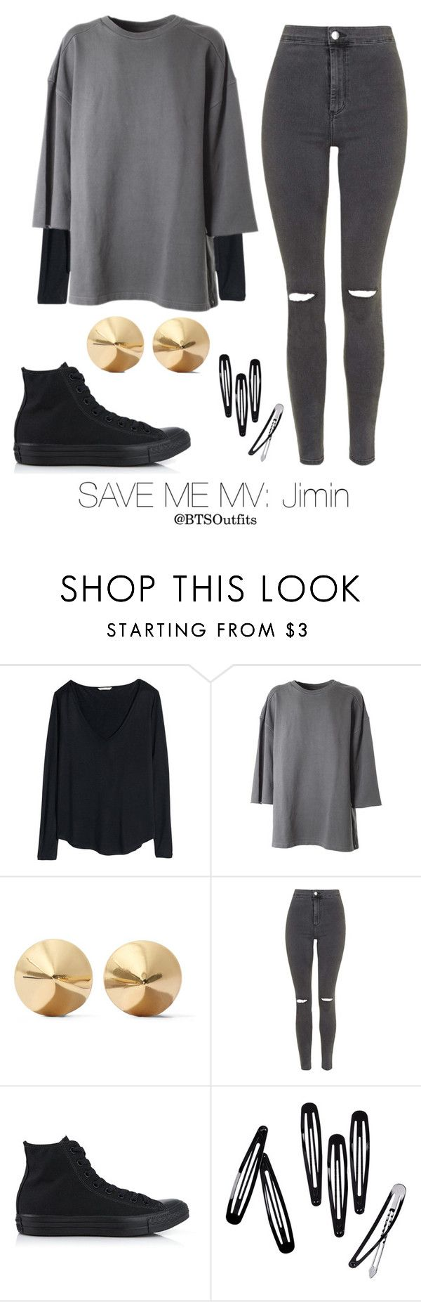 """Save Me MV: Jimin"" by btsoutfits ❤ liked on Polyvore featuring H&M, adidas Originals, Eddie Borgo, Topshop and Converse"