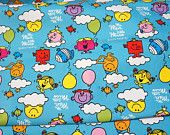 Cartoon Character Fabric Mr Men Little Miss  50 cm by 53 cm or 19.6 by 21 inches FAT QUARTER A10